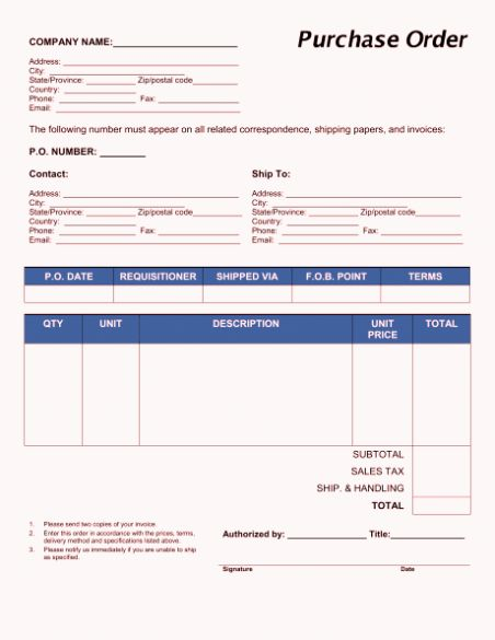 Purchase Order Template Word Unique Free Purchase Order Form Template Excel Word Sample Purchase Order Template Templates Purchase Order