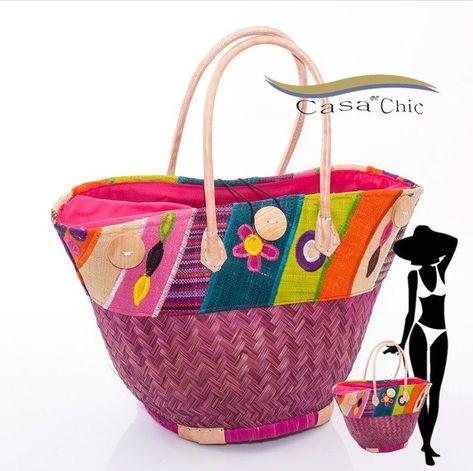 BORSA MARE DONNA paglia e tessuto colorato fantasia spiaggia passeggio  fashion 0f035b8e2ac7