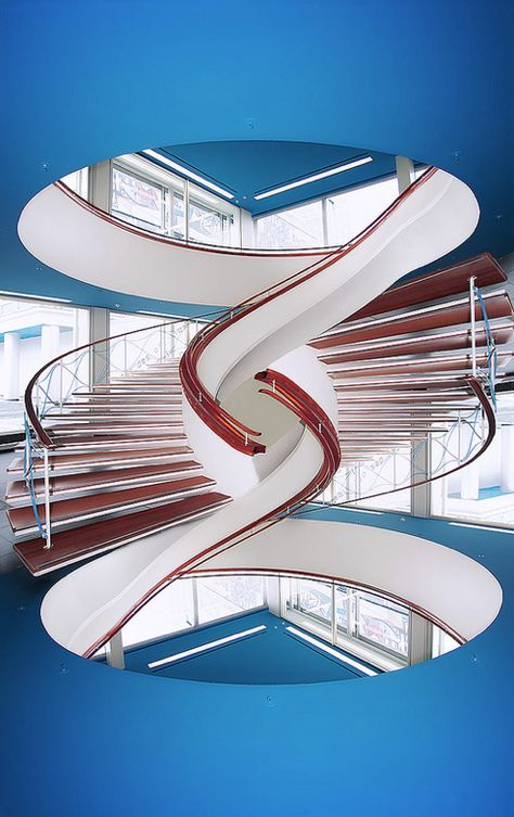 Inspiration, photographs and backgrounds: Red White and Blue circular staircase