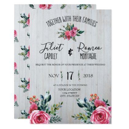 Watercolor Blue Pink Floral Wedding Invitation Zazzle Com