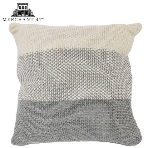Gray & Cream Knitted Pillow Cover in