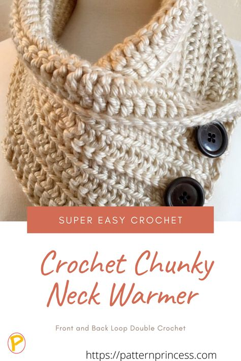 This chunky neck warmer is a quick crochet pattern that uses the double crochet stitch alternating between the back and front loops. This creates beautiful texture. Read on for three different looks created by various colors and button combinations. #crochet #chunky #cowl #easy #beginner #neckwarmer Easy Beginner Crochet Patterns, Easy Crochet Stitches, Crochet Diy, Crochet Fall, Easy Crochet Hat, Crochet Coaster, Easy Crochet Projects, Crochet For Beginners, Thread Crochet