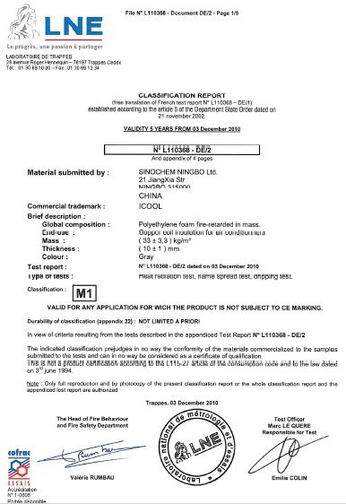 M1 certificate (we have it) means the insulation used in our ...