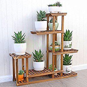 Malayas Wooden Plant Flower Display Stand Wood Pot Shelf Storage