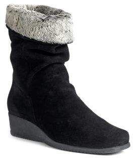 Fancy Faux Fur Trimmed Suede Wedge Boots Fur Faux Adjustable