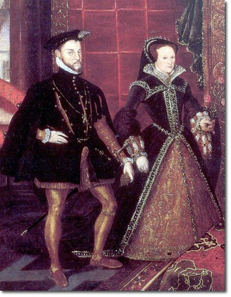 Mary Tudor with that traitorous brute of a Spaniard, Phillip. Poor Mary! She deserved so much better than what she got. The Fates dealt her a rather crappy hand.