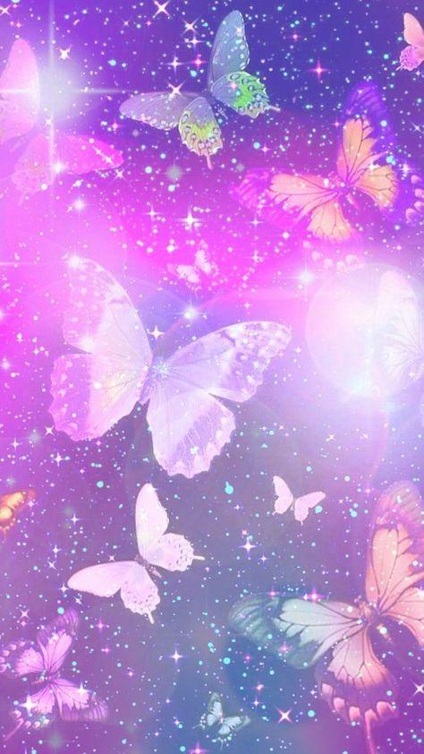 Purple Sparkly Butterflies, made by me #sparkles #butterflies #bokeh #purple #wallpapers