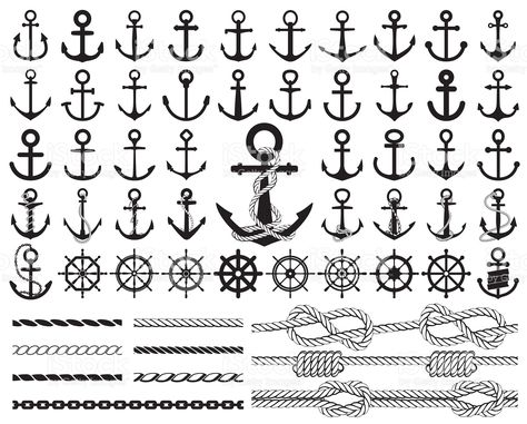 Set of anchors, rudders icons, and ropes. Vector illustration. royalty-free stock vector art