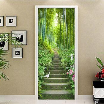 3d Wallpaper Green Bamboo Ladder Photo Wall Door Mural Living Room Bedroom Restaurant Pvc Self Adhesive Wat Door Murals Living Room Wallpaper Uk Wallpaper Door