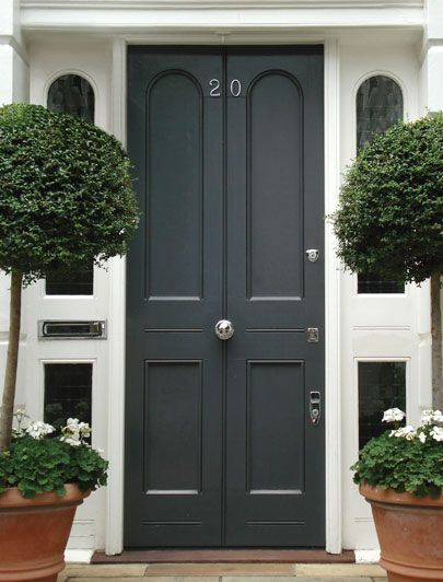 Black Regency door. A modern classic by the London Door Company