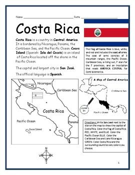 Costa Rica Printable Handouts With Map And Flag Geography Worksheets Social Studies Worksheets Basic Geography