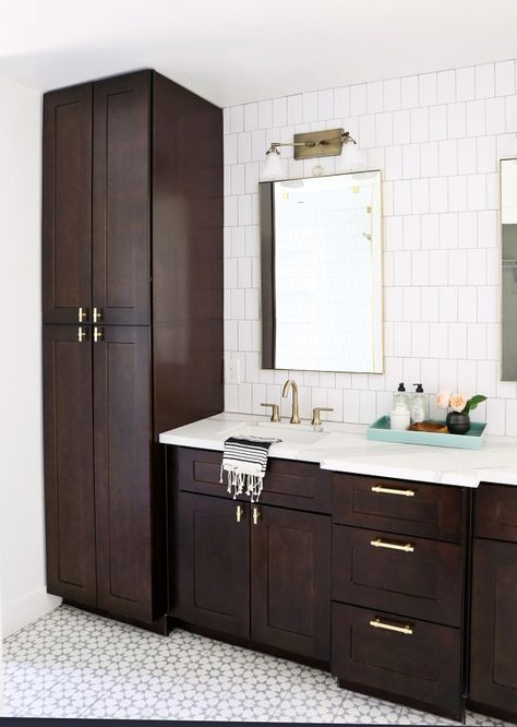 Gentry Kids And Master Bath Reveal White Bathroom Cabinets Dark Wood Bathroom Tall Cabinet Storage