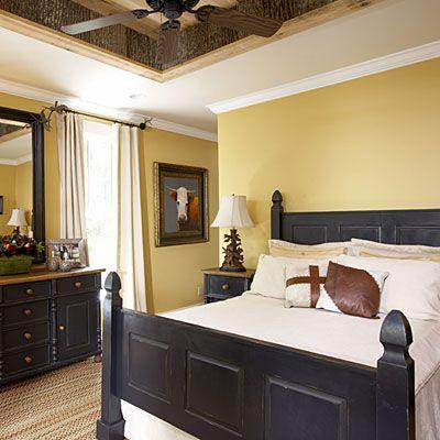 Jul: bedroom yellow walls, pintuck duvet, turquoise blue & yellow ...