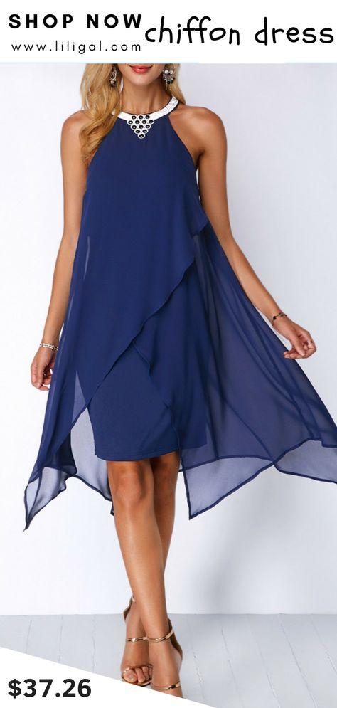 a582a7adc2a USD37.26 Blue Embellished Neck Chiffon Overlay Dress  liligal  dresses