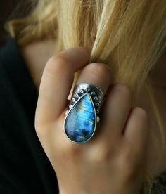 Glow in the Night - Labradorite Sterling Silver Ring *sold - but pinning because it's GORGEOUS!