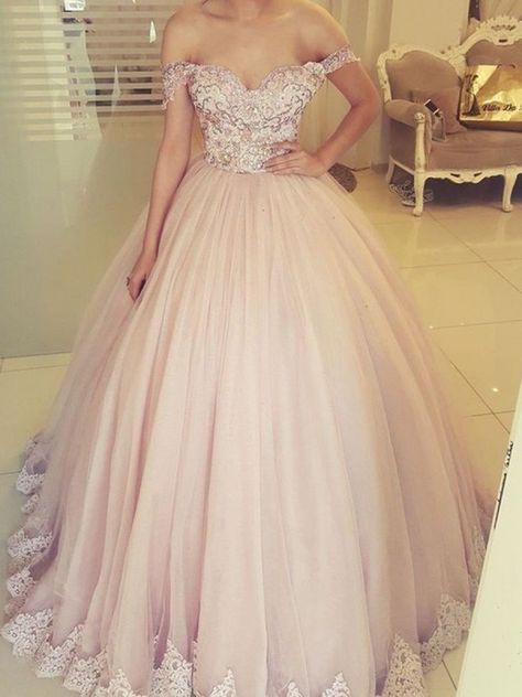 Ball Gown Lace Off-the-Shoulder Long Prom Dress Formal Evening Dresses #promdresses #promballgown #eveninggownslong
