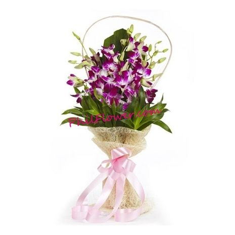 One Dozen Purple Orchids In Bouquet Valentines Flowers Flower Delivery Orchid Flower Arrangements