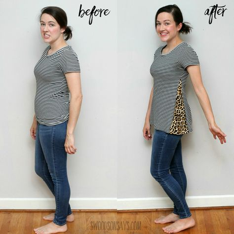 How to add fabric to a shirt to make it bigger - Swoodson Says fashion upcycle shirt makeover How to add fabric to a shirt to make it bigger Reuse Clothes, Sewing Clothes, Umgestaltete Shirts, Altering Clothes, Diy Shirt, Refashioned Tshirt, Refashioned Clothes, Clothes Refashion, How To Refashion A Tshirt
