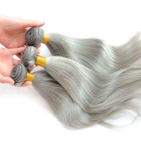 Extensions-de-Cheveux-Gris-Moyen-Droit-Naturel-Humain-weft-18-Straight-Hair
