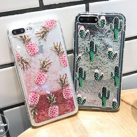 Hot Pineapple Cactus Bling Liquid Glitter Soft Case Cover For Iphone 6 6S 7  Plus 4426e22ac624