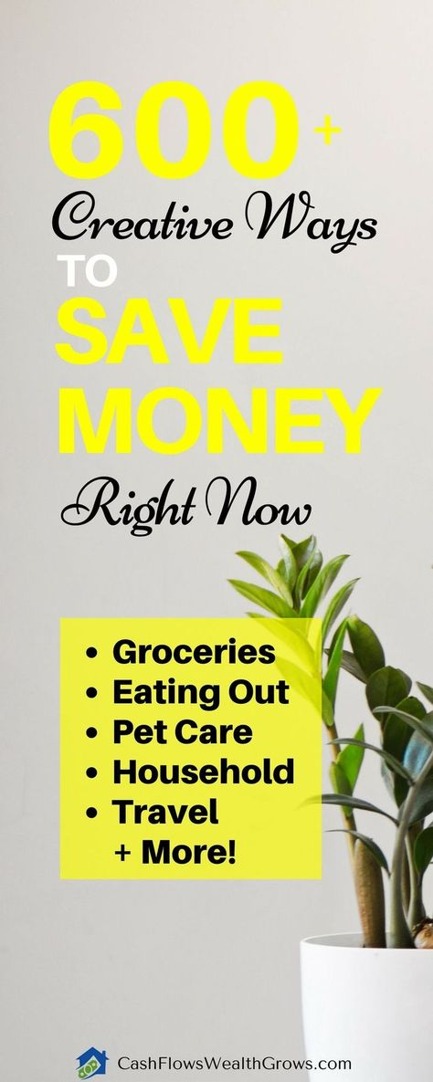600+ Creative Ways to Save Money Right Now - Cash Flows Wealth Grows