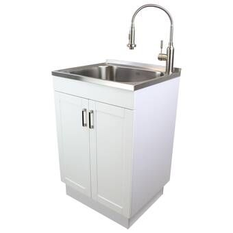 Transolid 23 6 X 19 7 Free Standing Laundry Sink With Faucet Reviews Wayfair In 2020 Laundry Sink Utility Sink Transolid