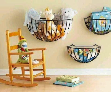 Flower Baskets for storage in kids' room.