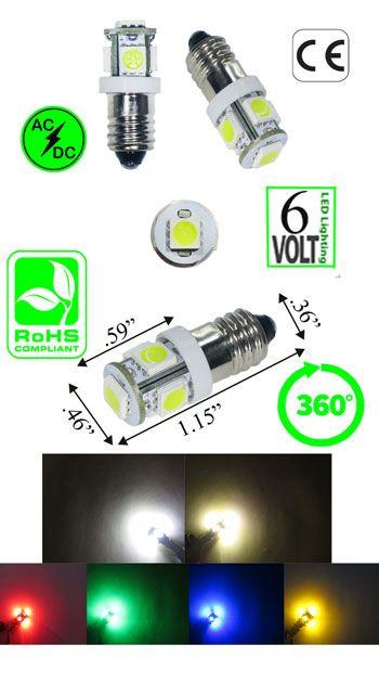 1482 Led Bulb E10 Base 6 Volt 5 Smd T3 1 4 Automotive Ledlight Automotive Led Lights Bulb Led Light Bulb