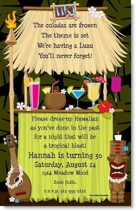 Tiki hut invitations luau housewarming party and luau party stopboris Choice Image