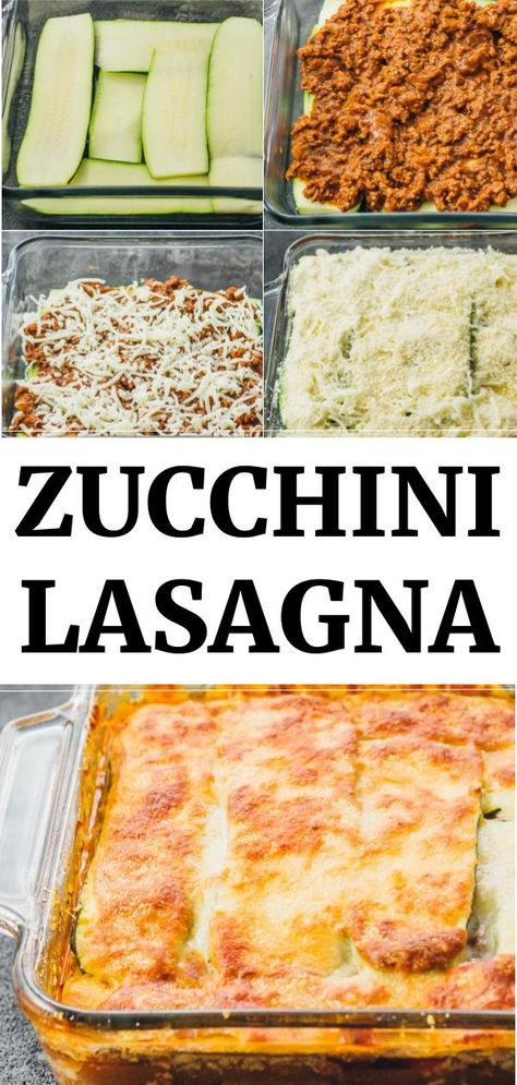 Keto Zucchini Lasagna Recipe Best zucchini lasagna with meat -- a great low carb and healthy alternative to your typical lasagna. This easy casserole is made with ground beef, onions, tomato sauce, and spices. A keto and gluten free recipe. Zucchini Lasagna Recipes, Zucchini Lasagne, Vegetable Recipes, Beef Recipes, Low Carb Recipes, Vegetarian Recipes, Cooking Recipes, Healthy Recipes, Recipe Zucchini
