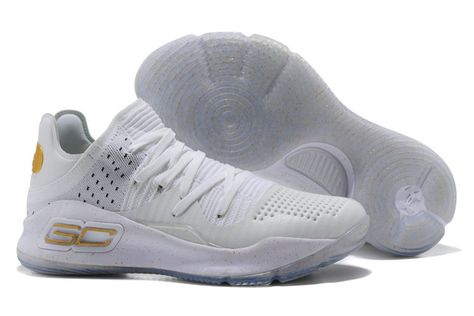 7aa584273c11 UA Stephen Curry 4 White Gold Low Basketball Shoe For Sale Big Boys Youth Jeunesse  Shoes