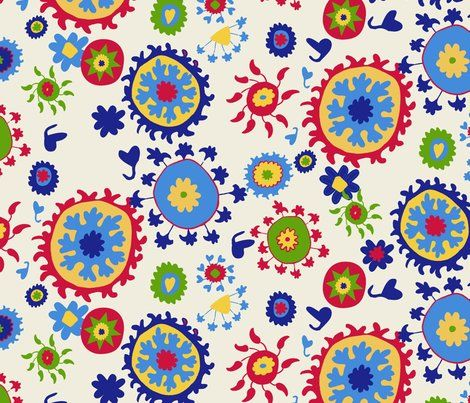 Colorful Fabrics Digitally Printed By Spoonflower Suzani Overall