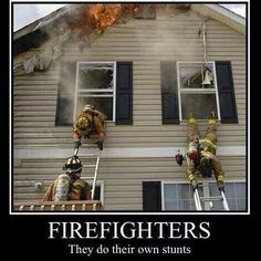 Firefighters do their own stunts. This is a fire that Tyler was on! He was bailing out the front steps as this picture was taken.