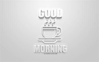 تحميل خلفيات صباح الخير كوب من القهوة رمز 3d 3d علامة خلفية بيضاء الفن 3d صباح المفاهيم قهوة الصباح Besthqwallpapers Com Animated Gif