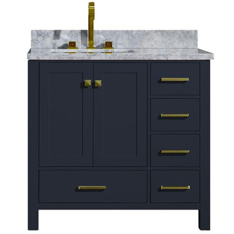 Cambridge 37 Inch Left Offset Single Rectangle Sink Vanity In