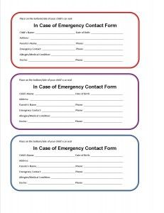 Printable Car Seat Emergency Contact Form Emergency