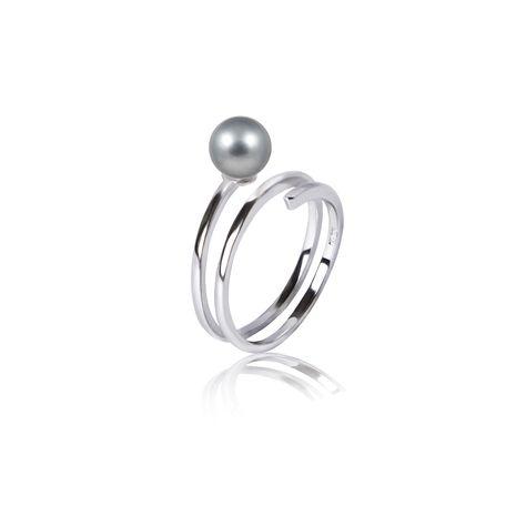 Серебряное кольцо SNAKE с серым жемчугом - ювелирные украшения LUCKSHIMI
