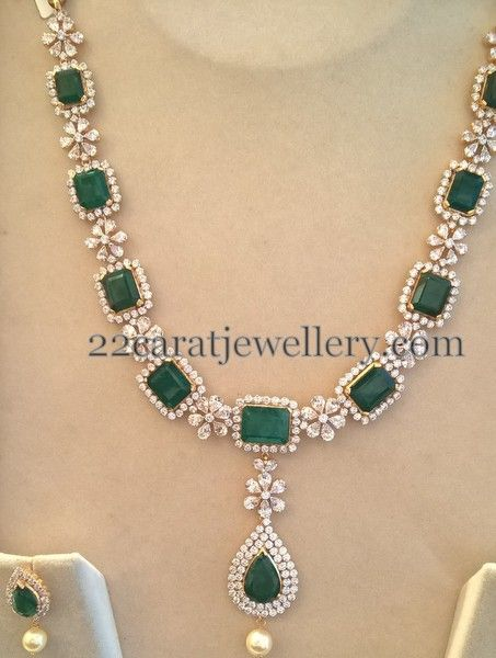 e929bdf3817b6 Swarovski CZs and Emeralds Set | Indian Diamond Wedding Jewellery ...