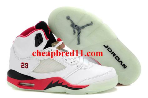 differently 192fa 8b391 Glow In The Dark Jordans 5 White Red Black