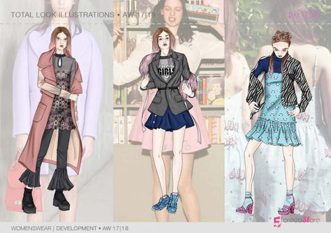 Key look ILLUSTRATIONS for Fall winter 2017-18, Exposed theme, Trend forecasting by 5forecaStore