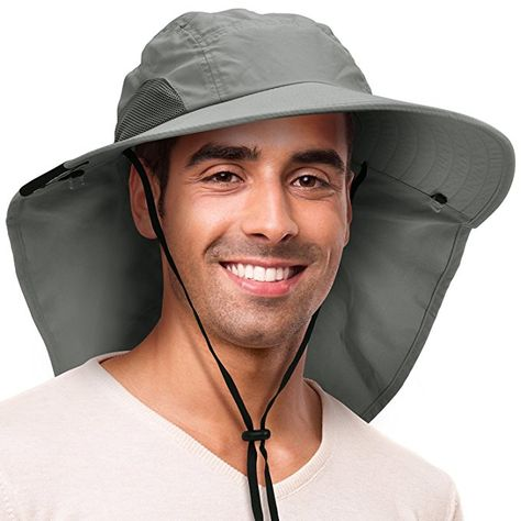 caa0016fb6d Solaris Outdoor Fishing Hat with Ear Neck Flap Cover Wide Brim Sun  Protection Safari Cap for Men Women Hunting