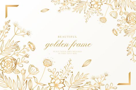 Beautiful floral background with golden nature Free Vector |  #Freepik #freevector #background #frame #wedding #wedding-invitation