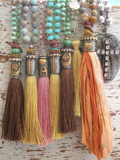 Long tassel necklace Messenger feather necklace by 3DivasStudio