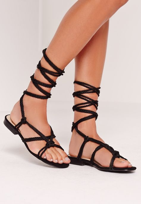 b7a063983c44 Missguided - Rope Lace Up Flat Sandals Black