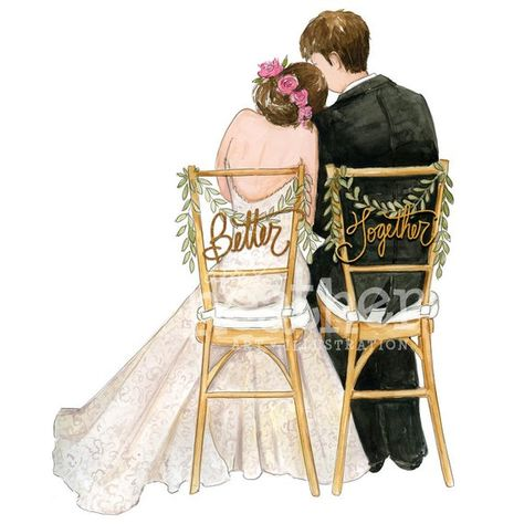 Bride and Groom Illustration | Bride and Groom Art Print | Wedding gift | Bridal gift | Bridal Illus