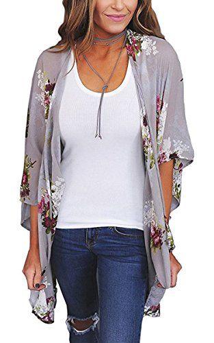 Hibluco Womens Fashion Floral Print Kimono Cardigan Long Tops Loose Cover Ups