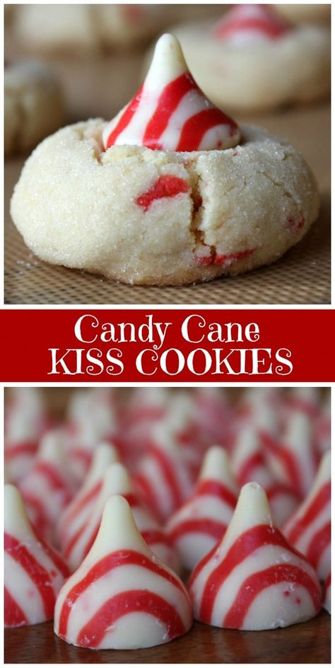 Candy Cane Kiss Cookies recipe from RecipeGirl.com #candy #cane #candycane #kiss #cookies #christmas #best #christmas #cookie #recipe #RecipeGirl #xmacookies