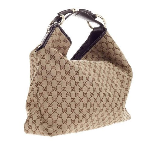 a4a29de84 This authentic Gucci Horsebit Hobo GG Canvas Large is an iconic design that  adds a touch glamour to your casual look. Description from 1stdibs.com.