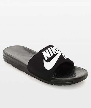 Nike SB Benassi SolarSoft Black   White Slides  ab78c453c