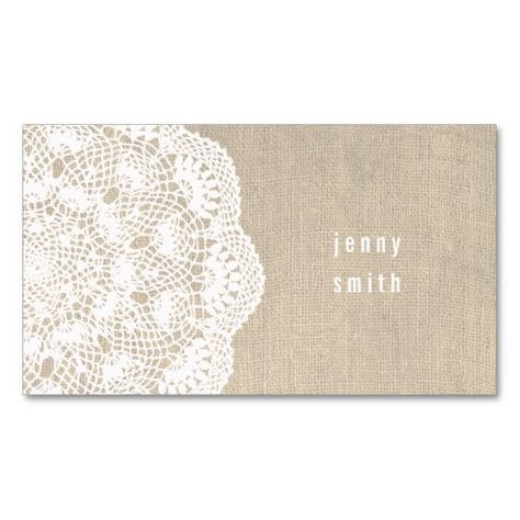 Burlap & Lace Doily Fashion Business Cards | Zazzle.com
